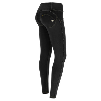 Freddy WR.UP® 3 Button Denim Mid Rise Skinny - Black Rinse + Yellow Stitching