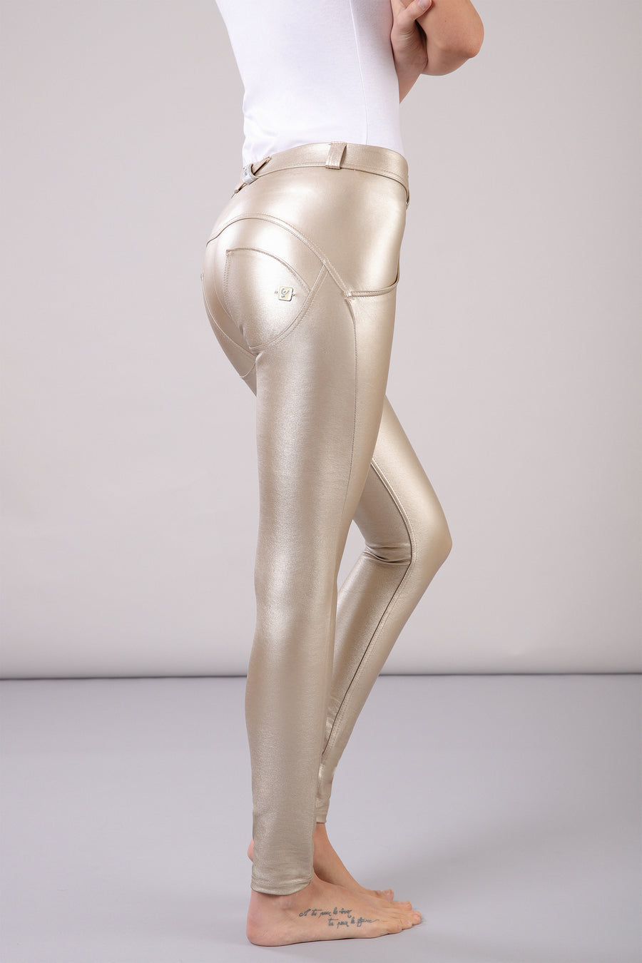 Freddy WR.UP®  Metallic Regular Rise Super Skinny Pants - Gold