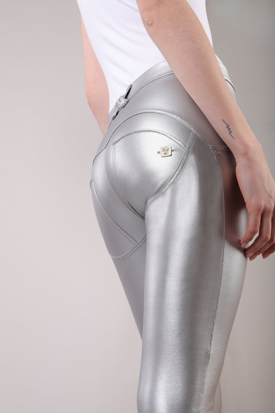 Freddy WR.UP®  Metallic Regular Rise Super Skinny Pants - Silver