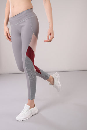 Freddy WR.UP® Ankle Length Contrast Training Pant - Grey & Pink