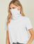 Ribbed Mask & Turtle-Neck Tee - White