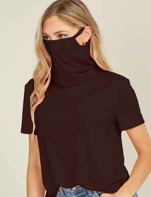 Turtle-Neck T-shirt - Ribbed Mask Feature - Black