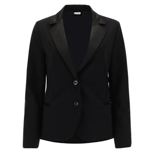 Fitted Blazer - Satin Lapels - Black