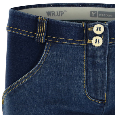 Freddy WR.UP® Distressed Denim Regular Rise Skinny - Dark Rinse + Yellow Stitching