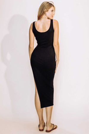 Fitted Rib-Knit Dress - Midi Side Slit - Black