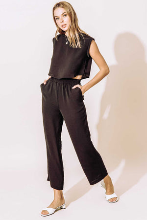 Muscle Tee Lounge Set - High Waisted Cropped Leg + Top - Black