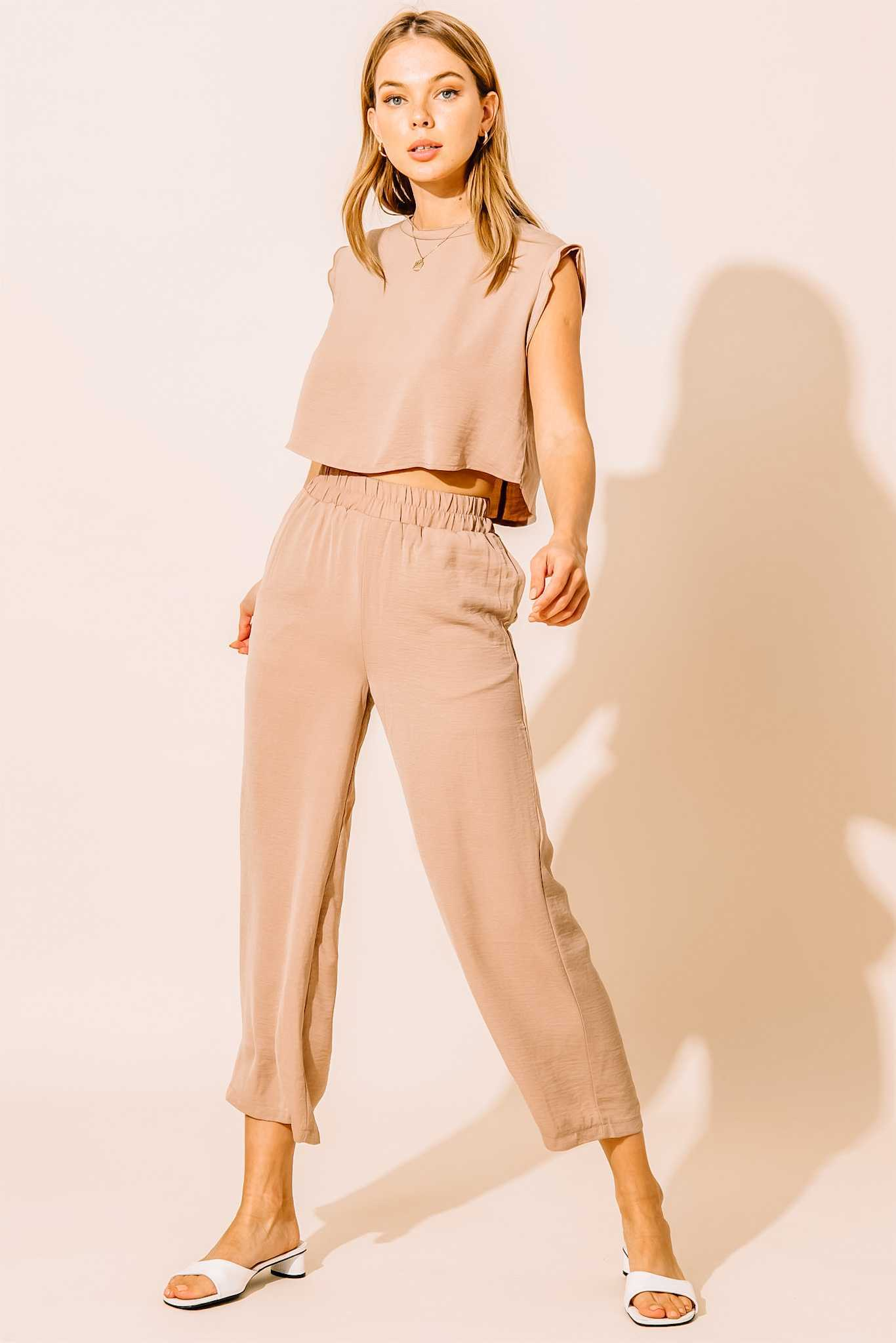 Muscle Tee Lounge Set - High Waisted Cropped Leg + Top - Taupe