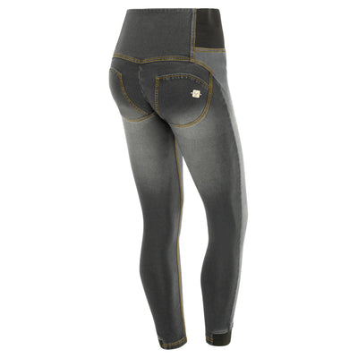 Freddy WR.UP® Whiskering Denim High Rise Skinny - Grey Rinse + Yellow Stitching