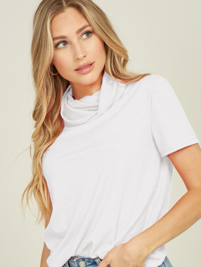 Turtle-Neck T-shirt - Ribbed Mask Feature - White