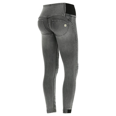 Freddy WR.UP® Stonewashed Denim High Rise Contrast Zip - Grey