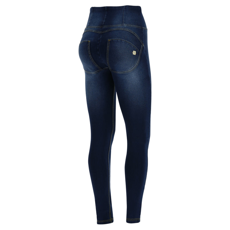 Freddy WR.UP® Ripped Denim High Rise Skinny - Dark Rinse + Yellow Stitching