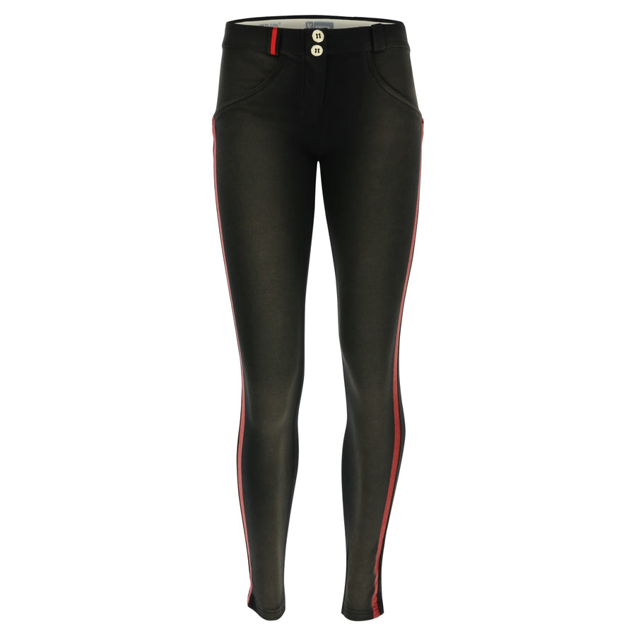 Freddy WR.UP® Sanded Effect Red Detail Regular Rise Skinny - Black
