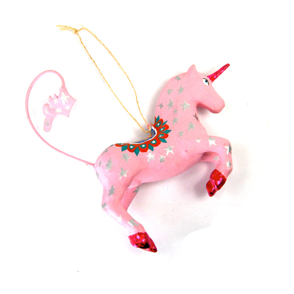 Unicorn Ornament Celestial Hand Painted Paper Mache 3 Dimensional Pink