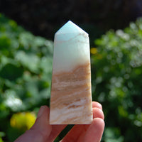Caribbean Blue Calcite Crystal Tower with Aragonite