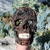 Carved Human Skull in Teak Wood with Bone Teeth Large Realistic Life Sized