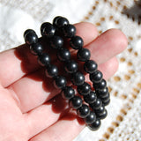 Shungite Crystal Bracelet 8mm Natural Gemstone Beads