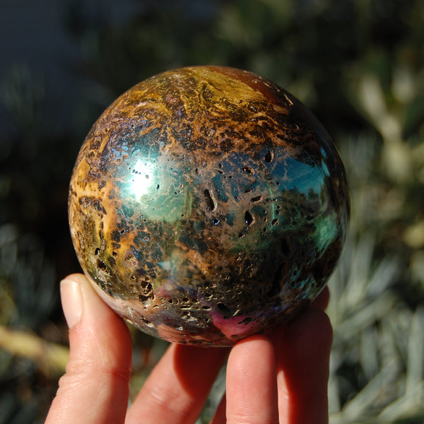 Genuine Natural Blue Amber Polished Sphere from Indonesia