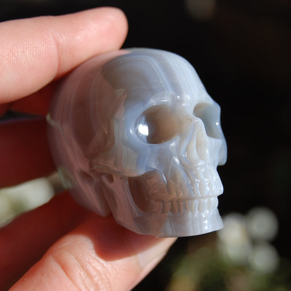 Grey Agate Carved Crystal Skull