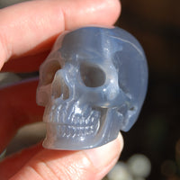 "2"" Grey Agate Carved Crystal Skull Realistic Gemstone Carving"