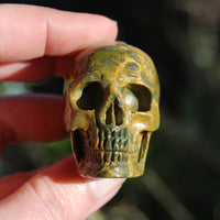 Ocean Jasper Carved Crystal Skull Realistic Gemstone Carving