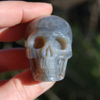 Grey Agate Carved Crystal Skull Realistic Gemstone Carving