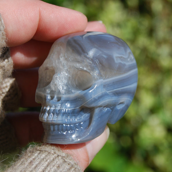 Agate Geode Carved Crystal Skull Realistic