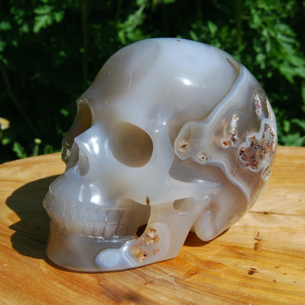 Dendritic Agate Carved Crystal Skull Realistic