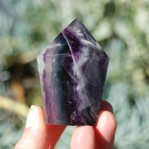 Rainbow Snow Fluorite Crystal Tower Darkest Purple with Blue