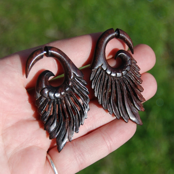 Faux Gauge Earrings Feather Wing Spiral Hand Carved Teak Wood