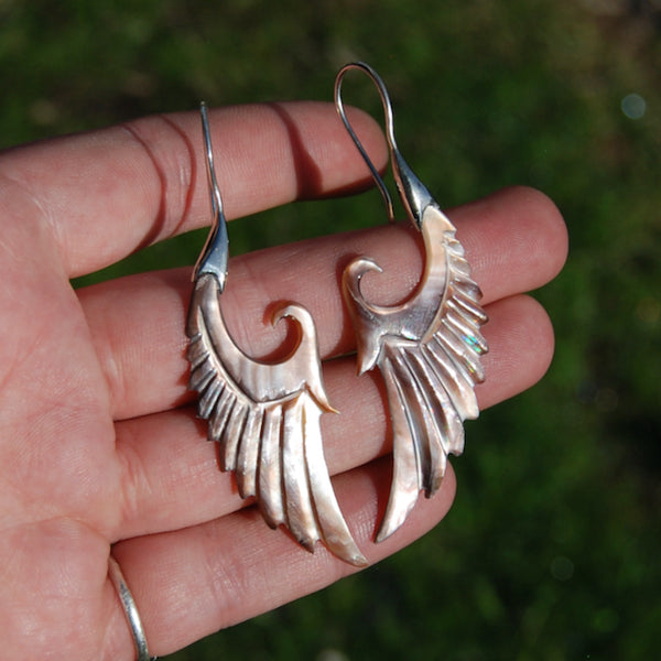 Mother of Pearl Wing Earrings Hand Carved Shell Sterling Silver