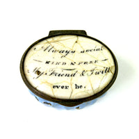 Antique Georgian Bilston Battersea Enamel Patch Box Hand Painted Motto circa 1775