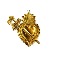 Sacred Heart Ex Voto Milagro Flaming Heart with Sword Ornament