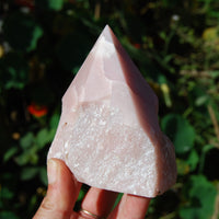 Peruvian Pink Opal Crystal Rough Self Standing Point