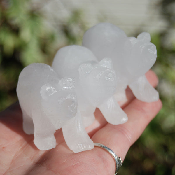 Rock Clear Quartz Carved Crystal Bear