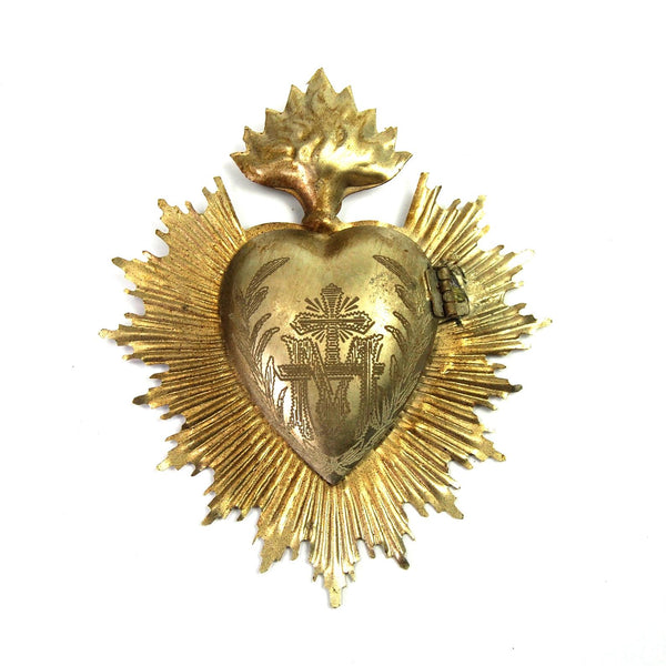 Sacred Heart Ex Voto Milagro Silver Burning Flaming Heart Locket