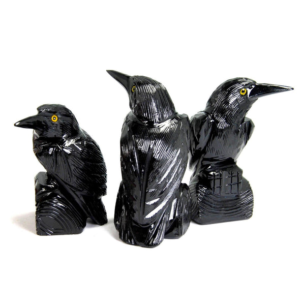 Black Onyx Raven Hand Carved Crystal Crow