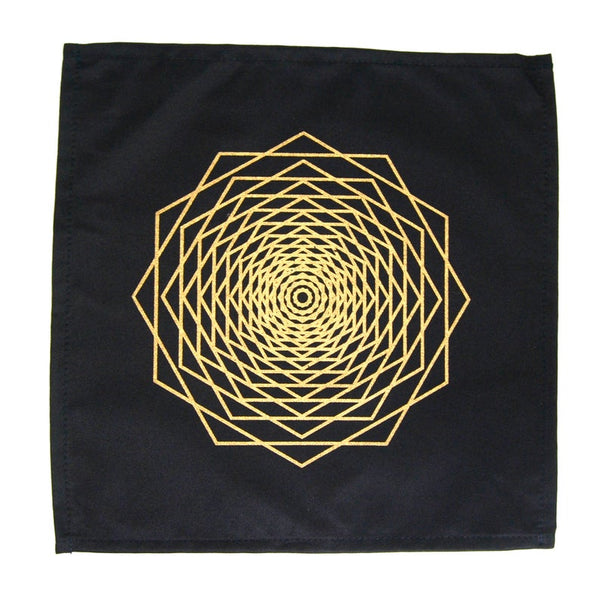 Crystal Grid Cloth DODECA FRACTAL Black and Gold 100% Cotton 12""