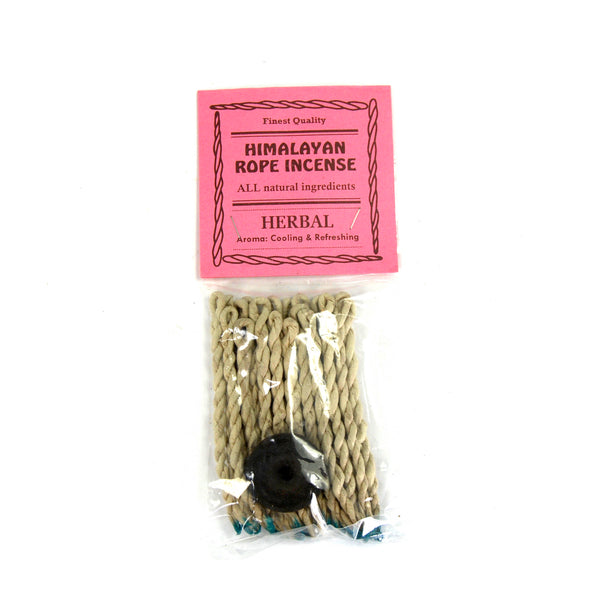 HERBAL Himalayan Rope Incense Herbal All Natural 20 Ropes Bundle with Burner Tibetan