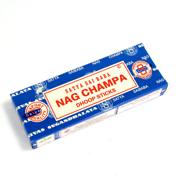 Authentic Satya Nag Champa Incense Dhoop Sticks 45 Gram Box with Burner