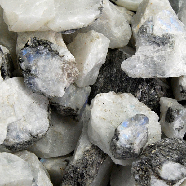 Rainbow Moonstone Rough Crystal Pieces 1/4lb Bulk Lot of Raw Stones