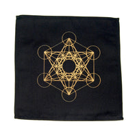 Crystal Grid Cloth FLOWER OF LIFE Black and Gold 100% Cotton 12""