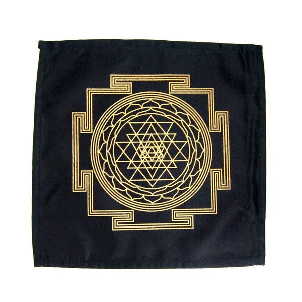 Crystal Grid Cloth SRI YANTRA Maha Meru 12 Inch Square Black Gold 100% Cotton