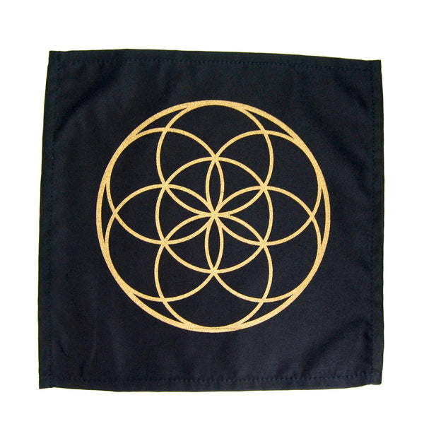 Crystal Grid Cloth SEED OF LIFE Black and Gold 100% Cotton 12""