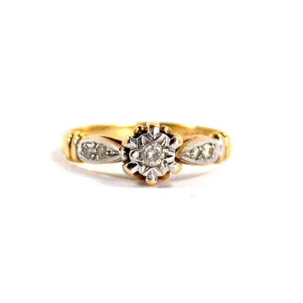 Antique Art Deco Diamond Ring Two Toned Yellow and White 9 Karat Gold English Hallmarks Sheffield 1930