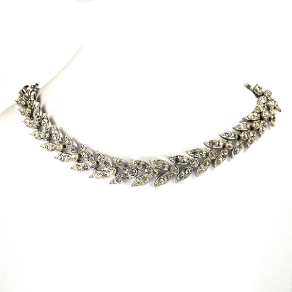 Antique Ledo Art Deco Rhinestone Choker Necklace Wheat Sheaf Motif Rhodium circa 1940