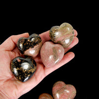 Rhodonite Crystal Polished Heart 1.75""