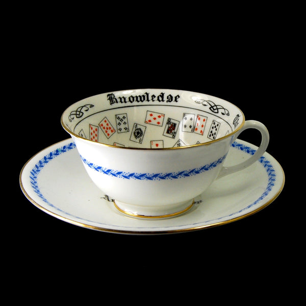 Antique Aynsley Cup of Knowledge Souvenir Australian Pavilion Wembley Fortune Telling Teacup Tea Leaf Reading Tasseomancy  circa 1925