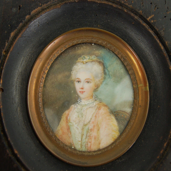 Antique Georgian Portrait Miniature Woman Hand Painted Watercolor Painting c.1830