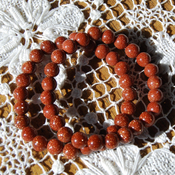 Goldstone Beaded Power Bracelet 8mm Natural Gemstone Beads