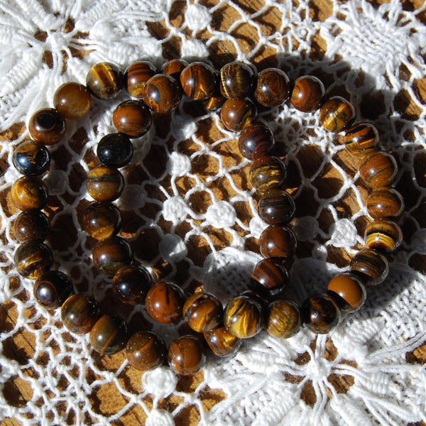Tiger's Eye Beaded Power Bracelet 8mm Natural Gemstone Beads